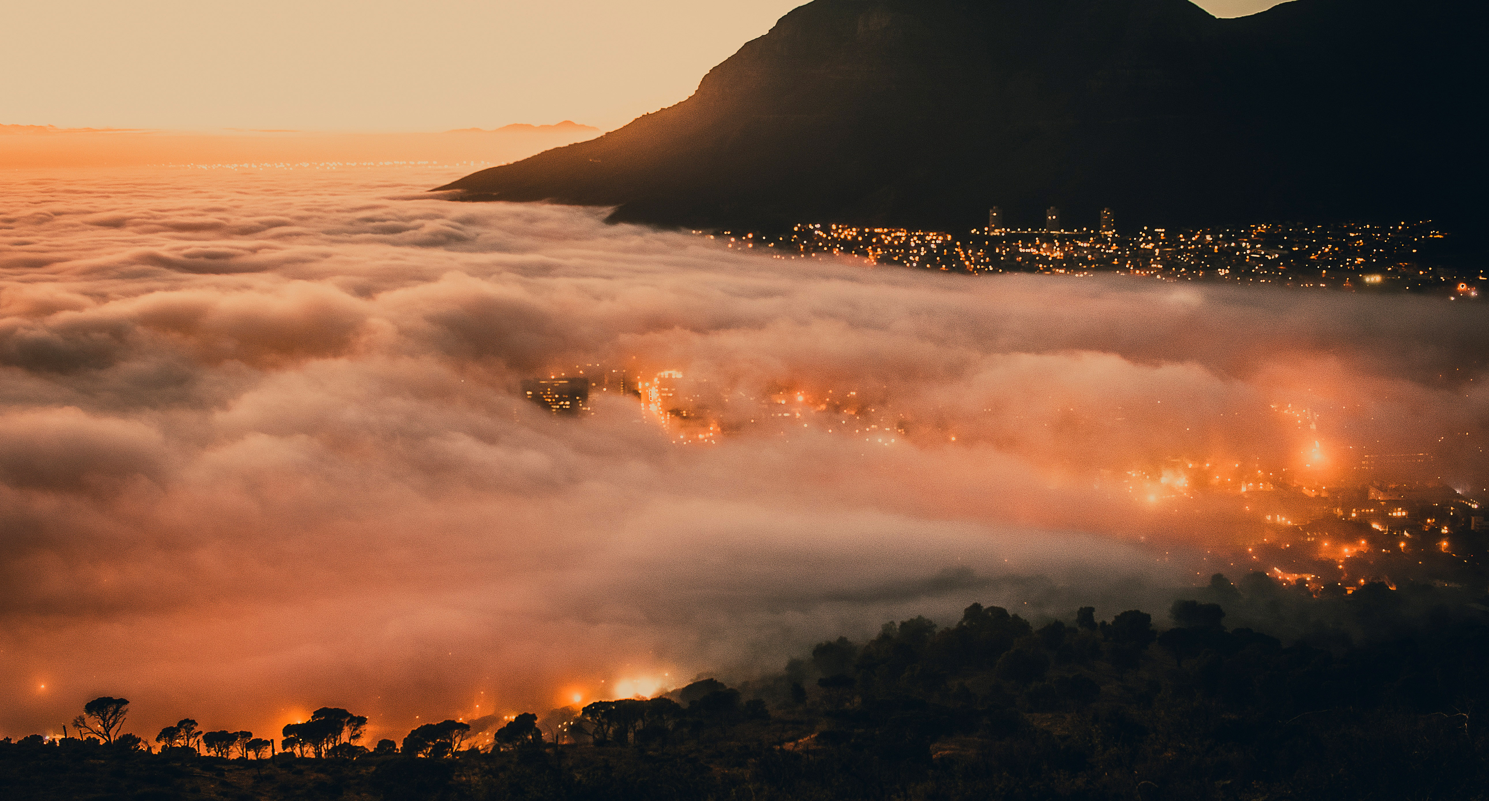 City Shrouded By Clouds In Cape Town South Africa Image