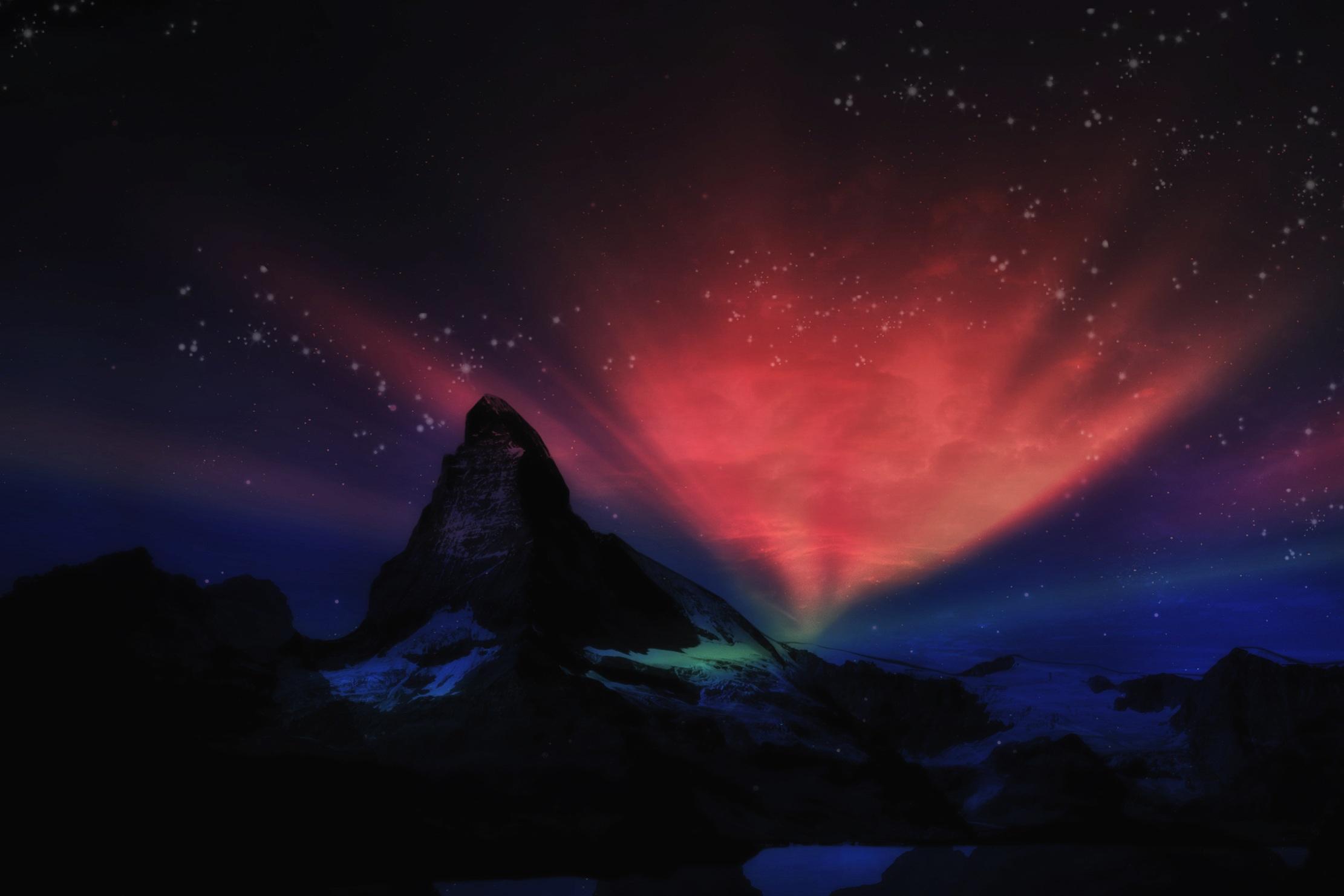 Mountain Wallpaper Hd Aurora On The Matterhorn Image Free Stock Photo Public