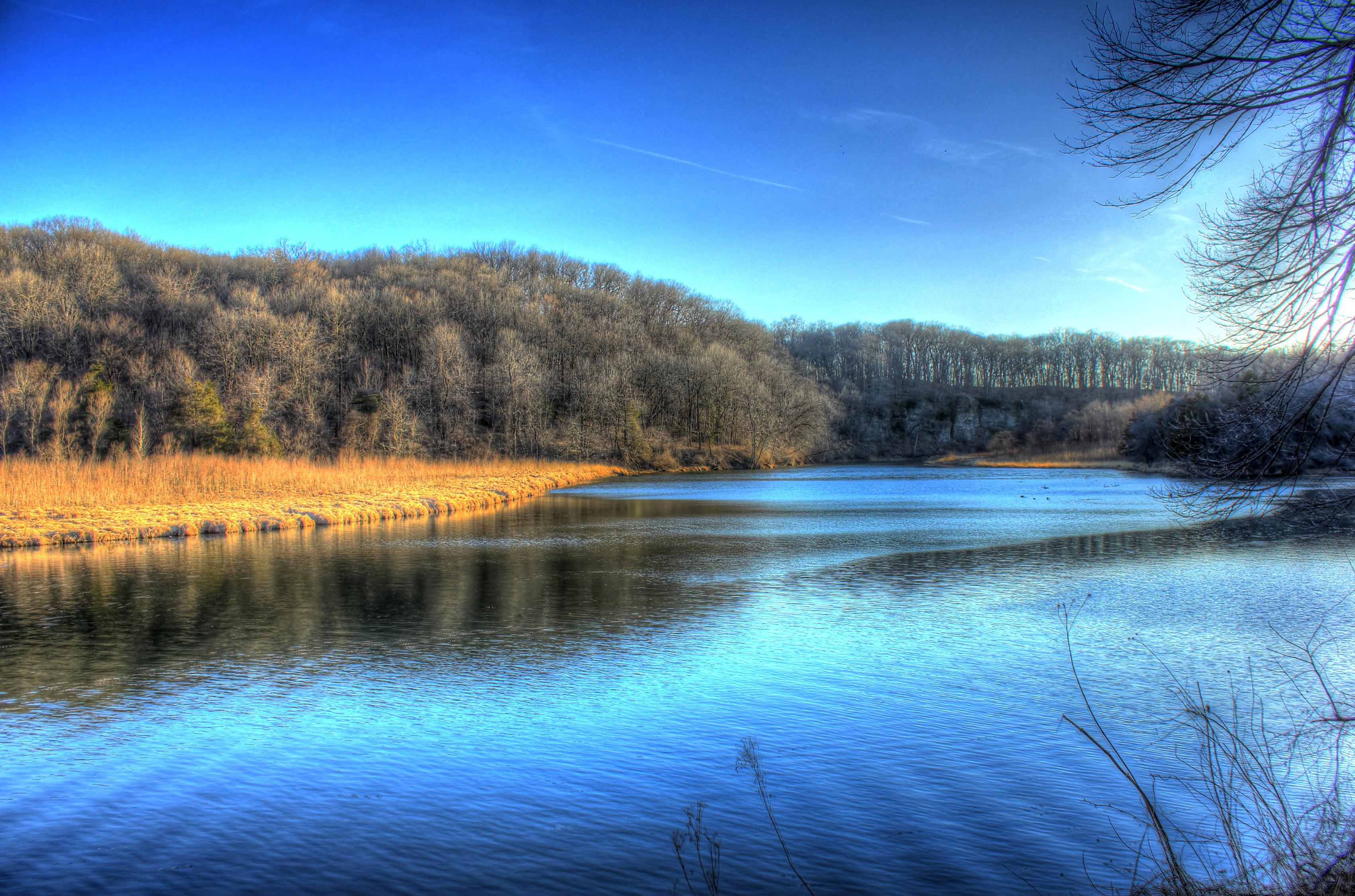 Beautiful Fall Hd Wallpaper Scenic River Landscape At Backbone State Park Iowa Image