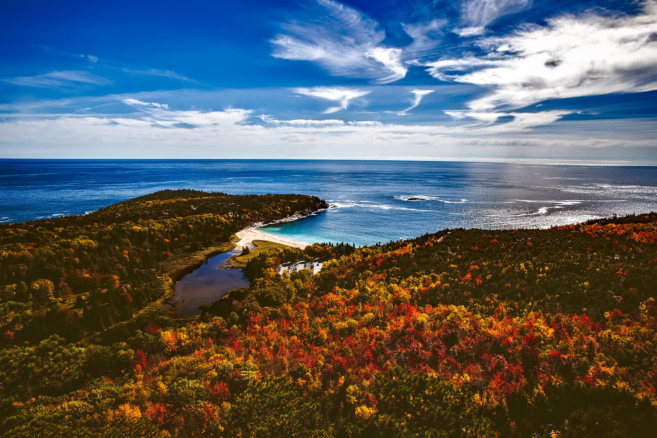 Free Fall Foliage Wallpaper Autumn Landscape Of The Forest And The Seashore At Bar