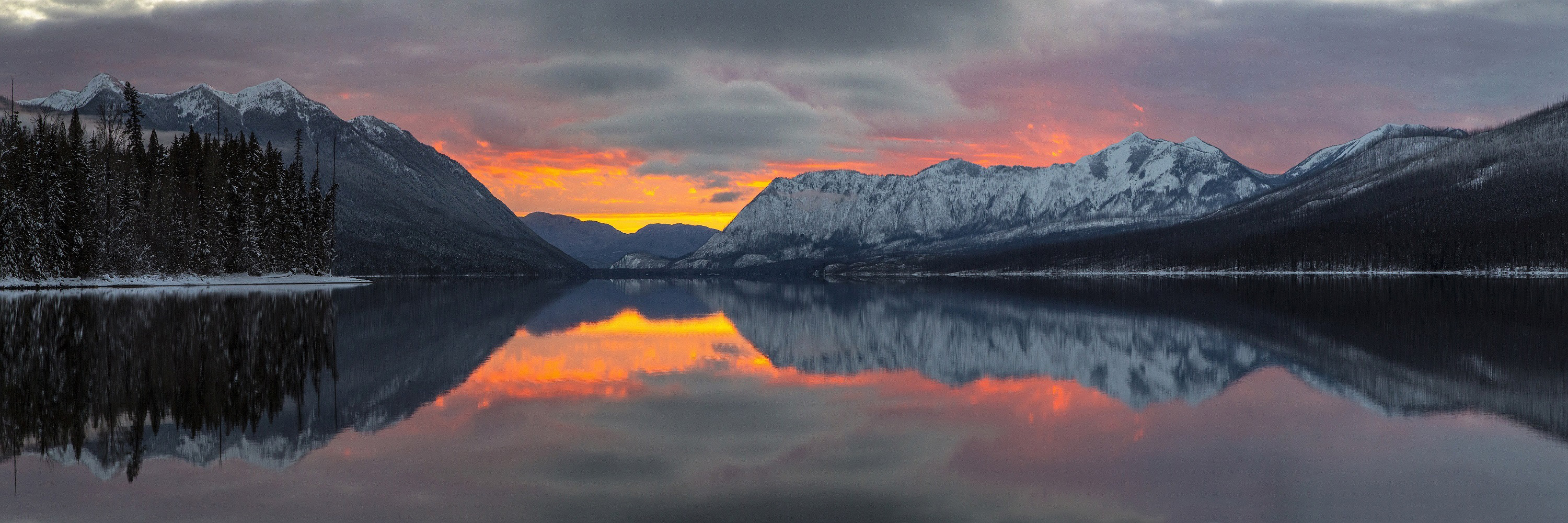 Fall Wallpapers In Pink Color Sunset Over The Apgar Mountains And Lake In Glacier