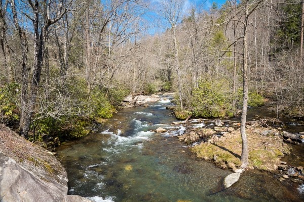 Scenic Landscape Of River In Great Smoky Mountains National Park North Carolina