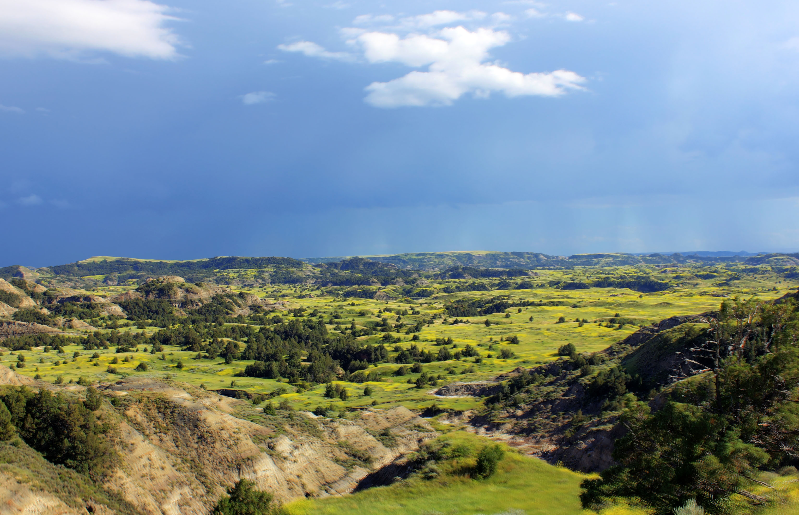 Rain In The Valley At Theodore Roosevelt National Park North Dakota Image