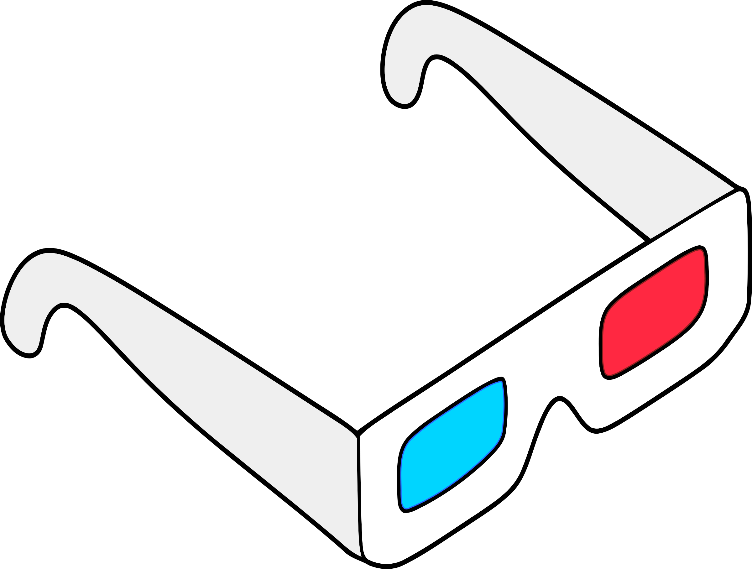 Anaglyph Glasses Colored Vector Clipart Image