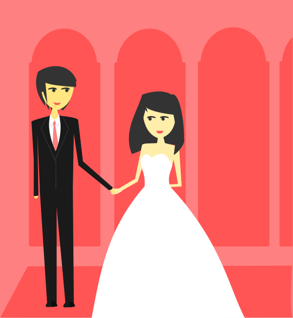Simple Bride and Groom Clip Art Free