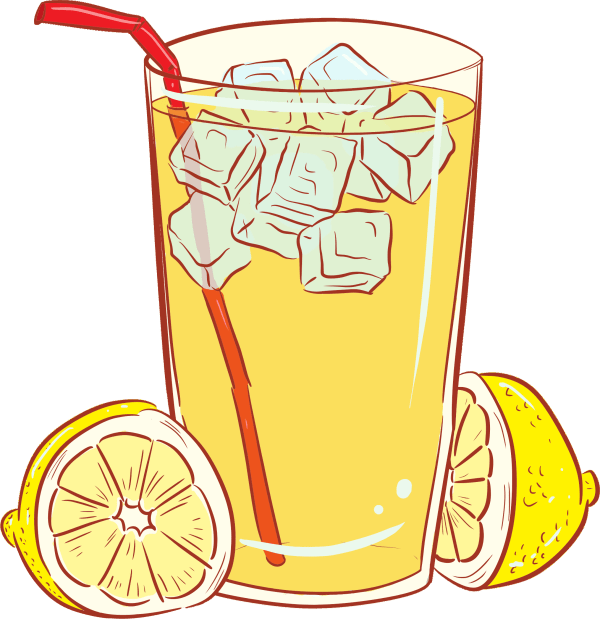 cold glass of lemonade vector