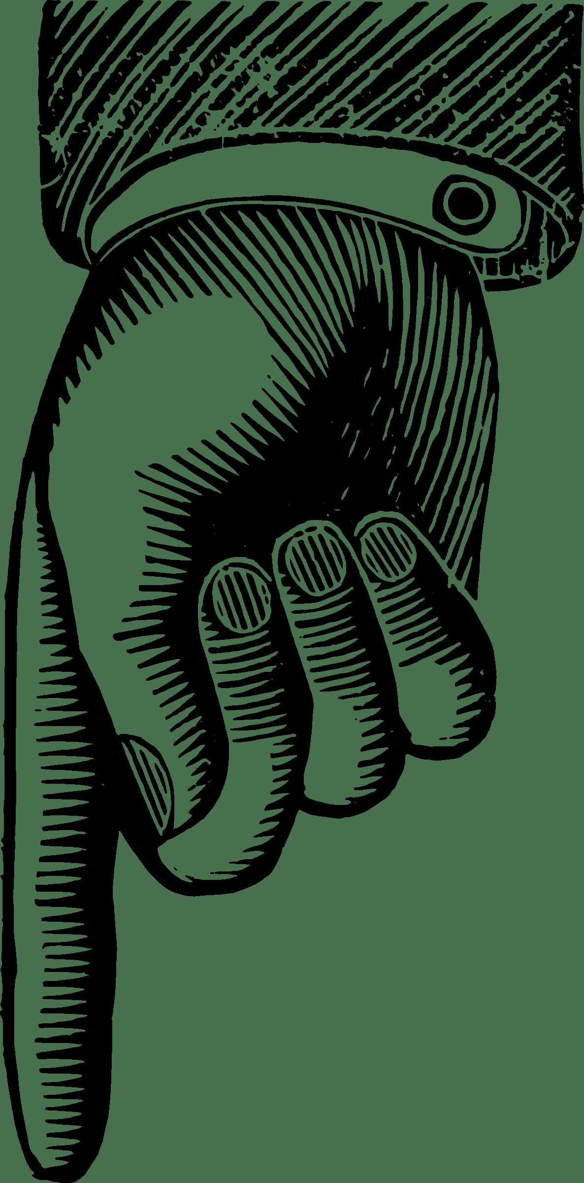 Finger Pointing Downward Vector Clipart Image