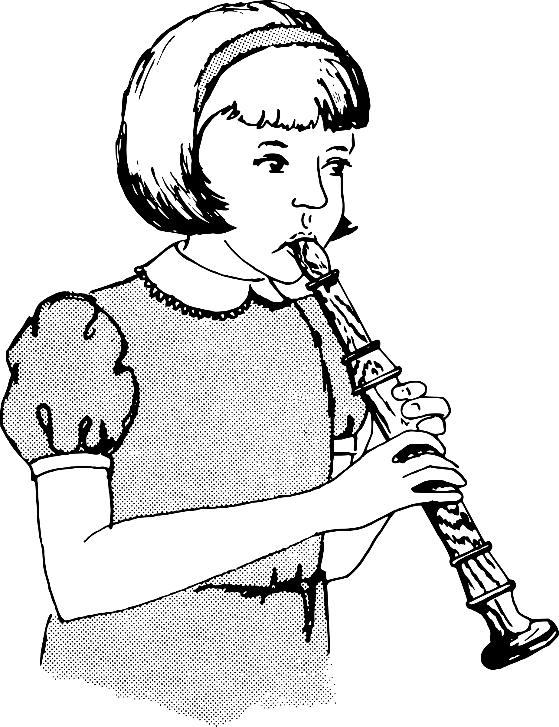 Girl Playing Recorder Vector Clipart Image