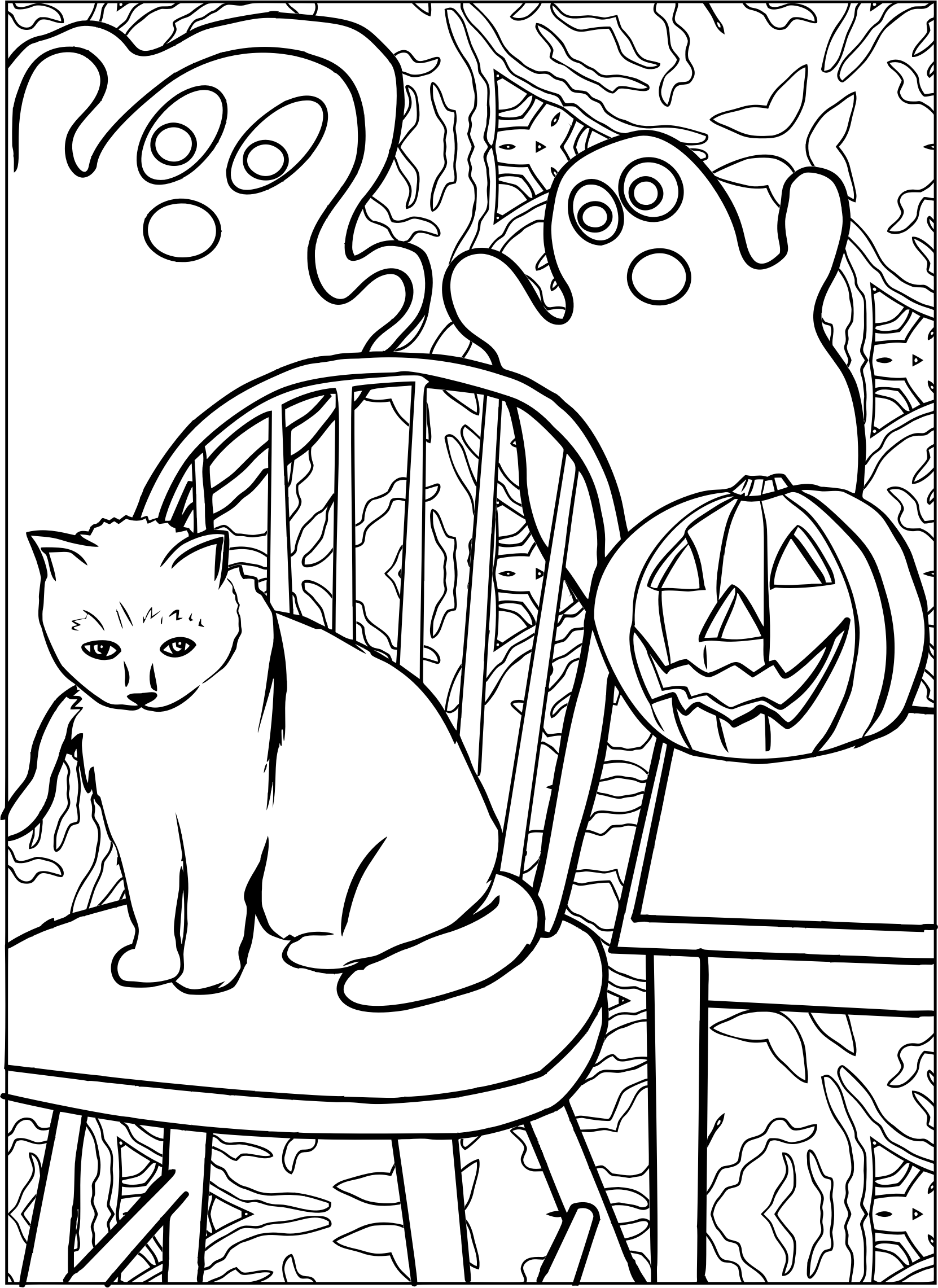 Halloween Cat Line Art With Ghost And Jack O Lanterns