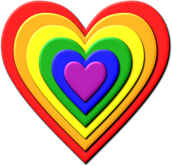 Multi Layered Rainbow Heart Vector Clipart image Free