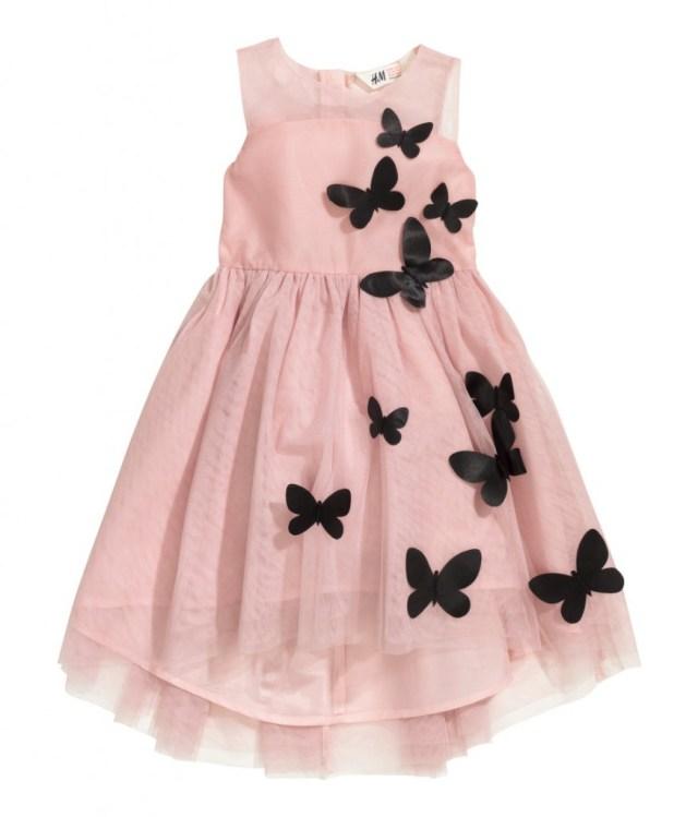 H&M kinderfeestkleding-feestelijke kerstjurkjes voor meisjes-GoodGirlsCompany roe feestjurk met zwarte vlinders
