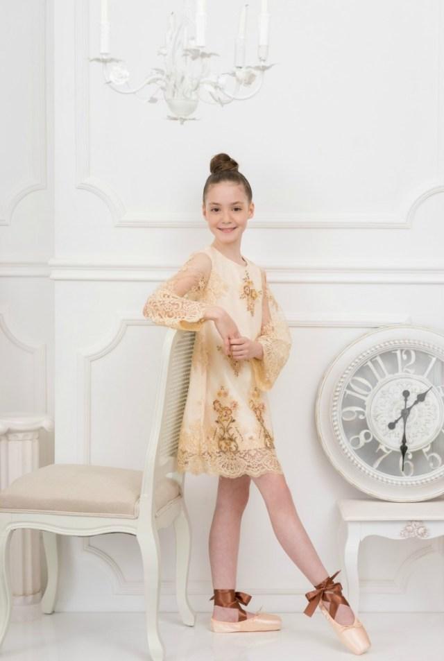 Goudkleurige jurk met kant-GoodGirlsCompany-feestkleding voor kinderen