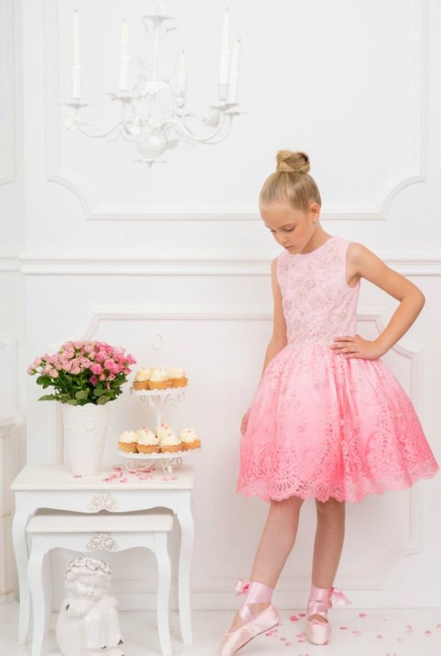 Ombre lace dress-GoodGirlsCompany-feestjurk met kant voor meisjes-roze feestjurk