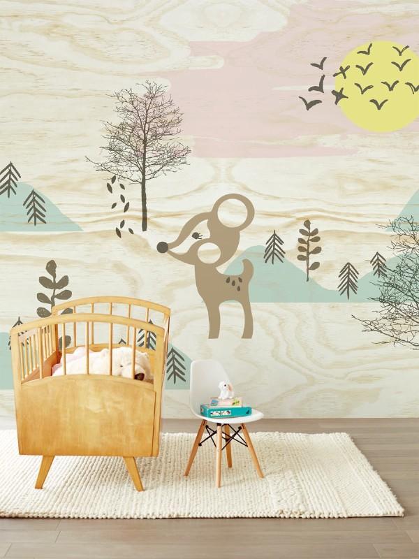 Eijffinger wall paper wood-GoodGirlsCompany-behang voor de babykamer