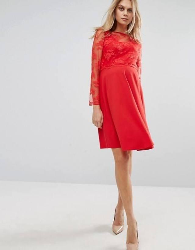 Asos Queen Bee Lace Overlay Midi Swing Dress
