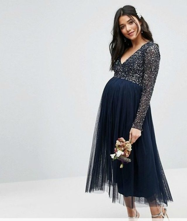 Maya-Maternit- Long-Sleeve-Midi-Dress-With-Delicate-Sequin-And-Tulle-Skirt-GoodGirlsCompany