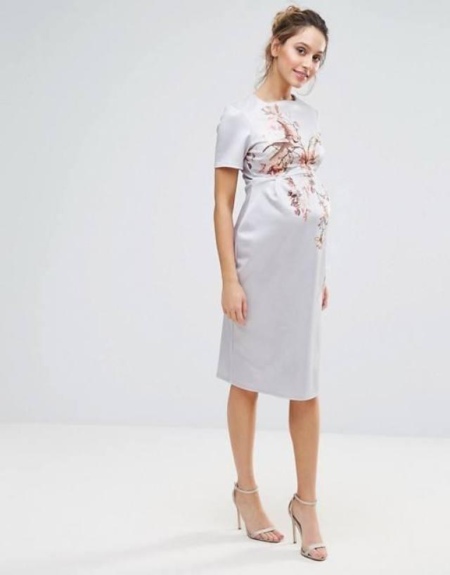 positie-feestjurk-Hope_Ivy-Maternity-Bird-Prin- Bodycon-Midi-Dress-GoodGirlsCompany