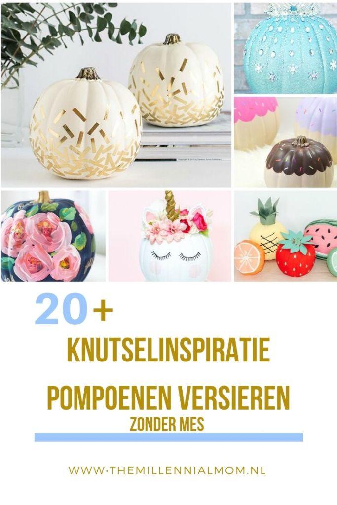 knutselinspiratie pompoenen versieren zonder mes