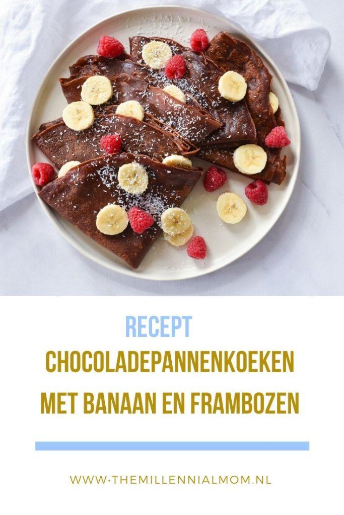 Chocoladepannenkoeken met banaan en frambozen