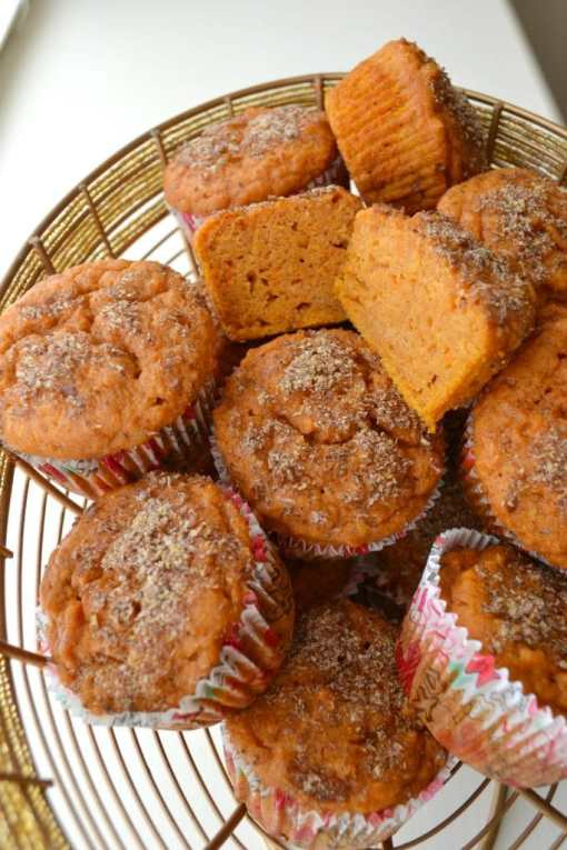 Wire basket full of sweet potato muffins