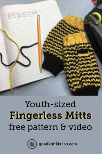 Youth Fingerless Mitts Pattern Pin Image