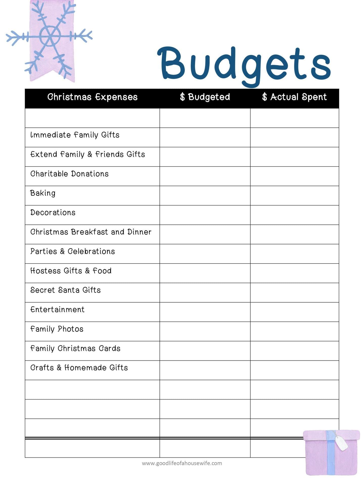 Christmas Printables And Budget Planner Good Life Of A