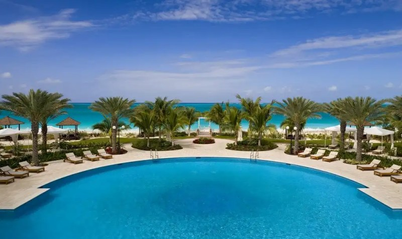 Seven Stars Resort's saltwater pool and Grace Bay Beach, Providenciales, Turks and Caicos Islands