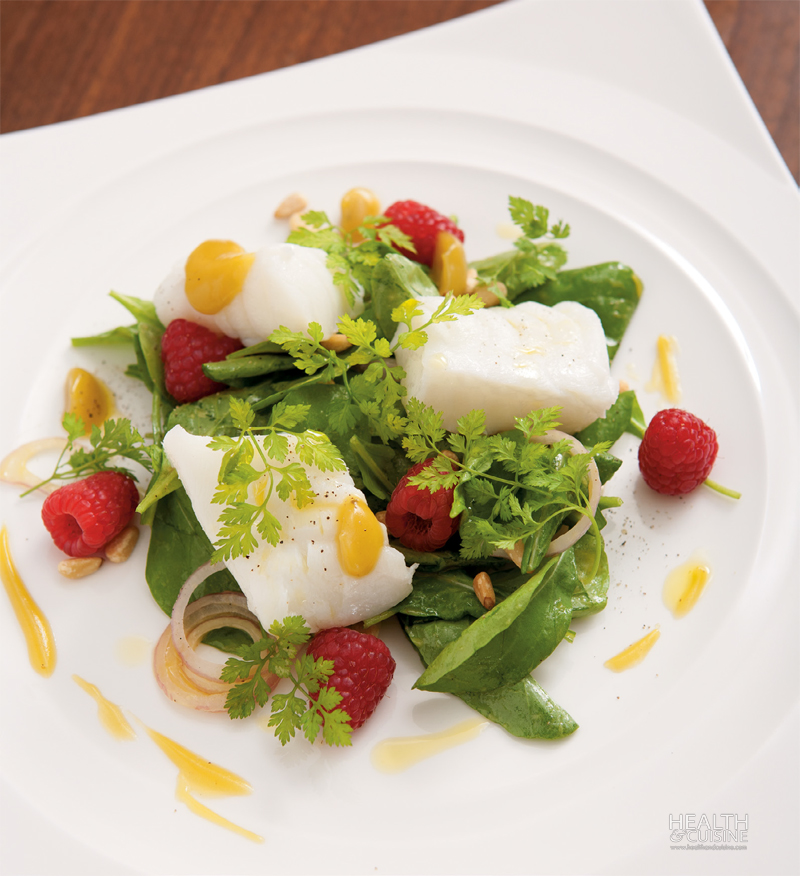 Steamed Snow Fish with Rocket Salad