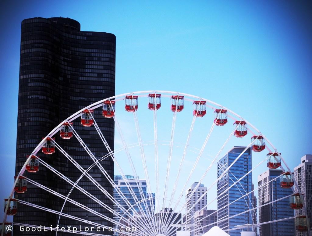 Chicago Ferry Wheel Navy Pier against skyline