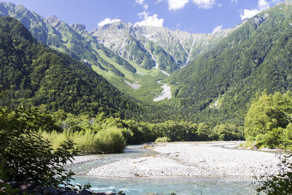 Mountains and Azusa River in Kamikochi, Japan