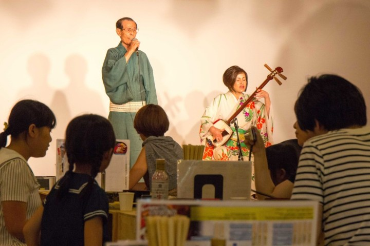 Shamisen performers at restaurant in Aomori Japan