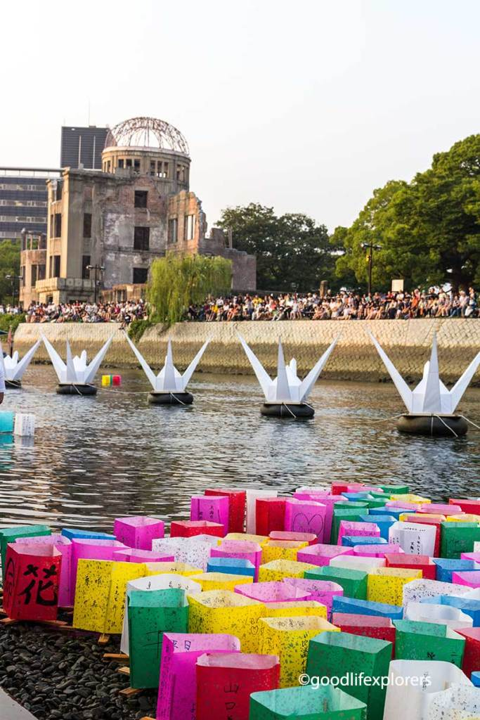 Hiroshima, Peace, ceremony, memorial, dome, genbaku, World War, Japan, 70th anniversary, lanterns, river, atomic bomb, event, cranes, paper, travel, travelblog