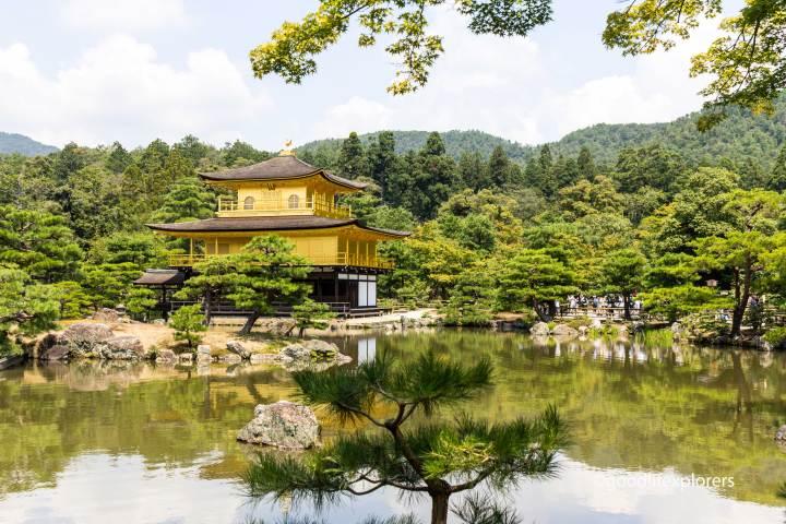 Gold Pavillion in Kinkaku-ji temple near Kyoto Japan