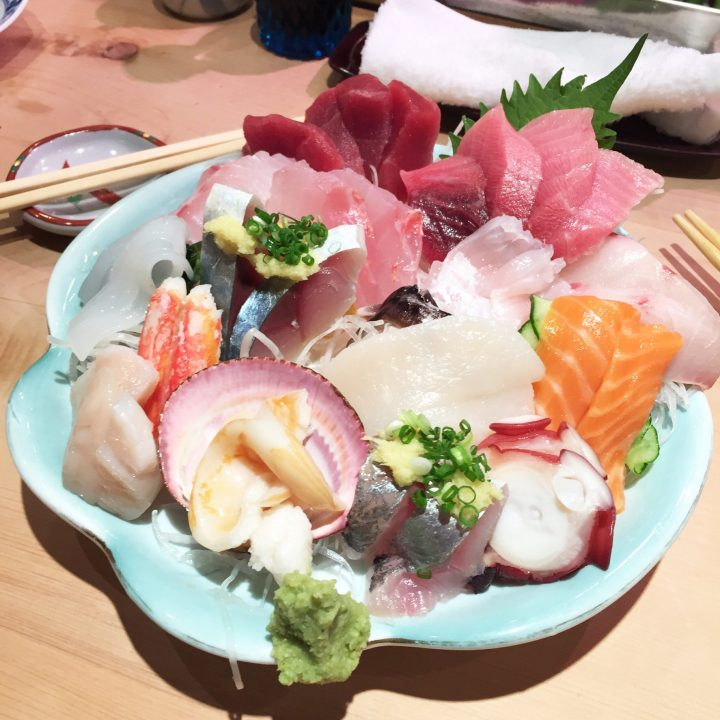 Sashimi plate served in the best sushi restaurant in Tokyo, Japan.