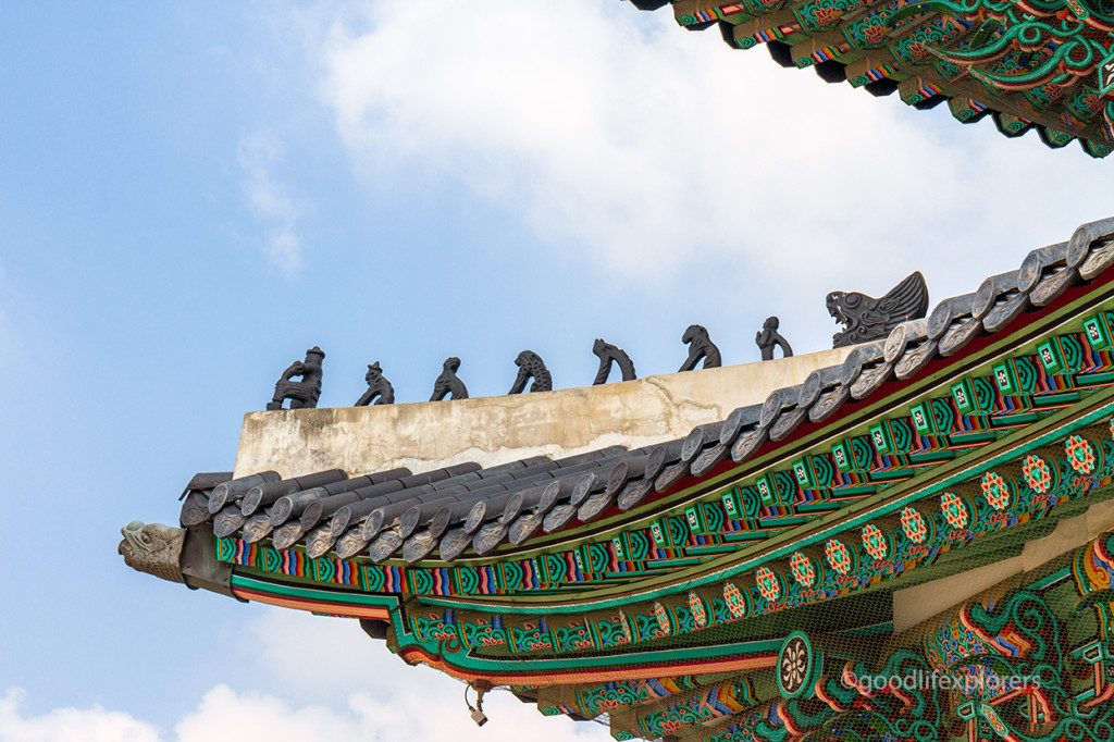 Gyeongbokgung Palace architectural detail based on the monkey king fable