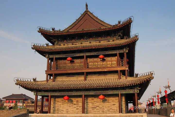 Pagoda at the Ancient City Wall of Xian during sunset