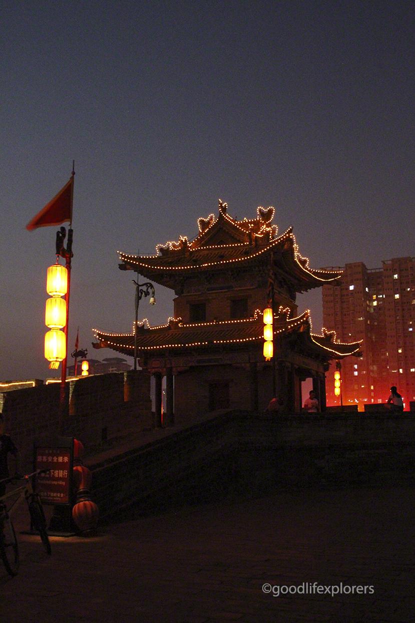 Pagoda at the Ancient City Wall of Xi'an China