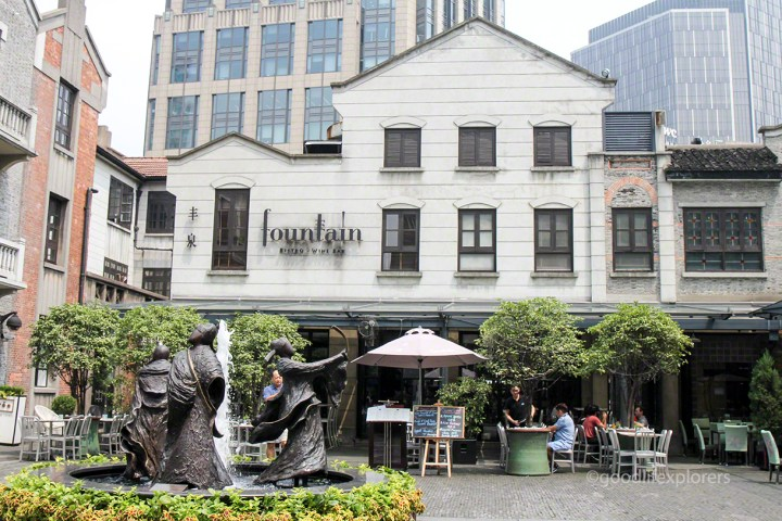 Restaurant and fountain at the french concession in Shanghai