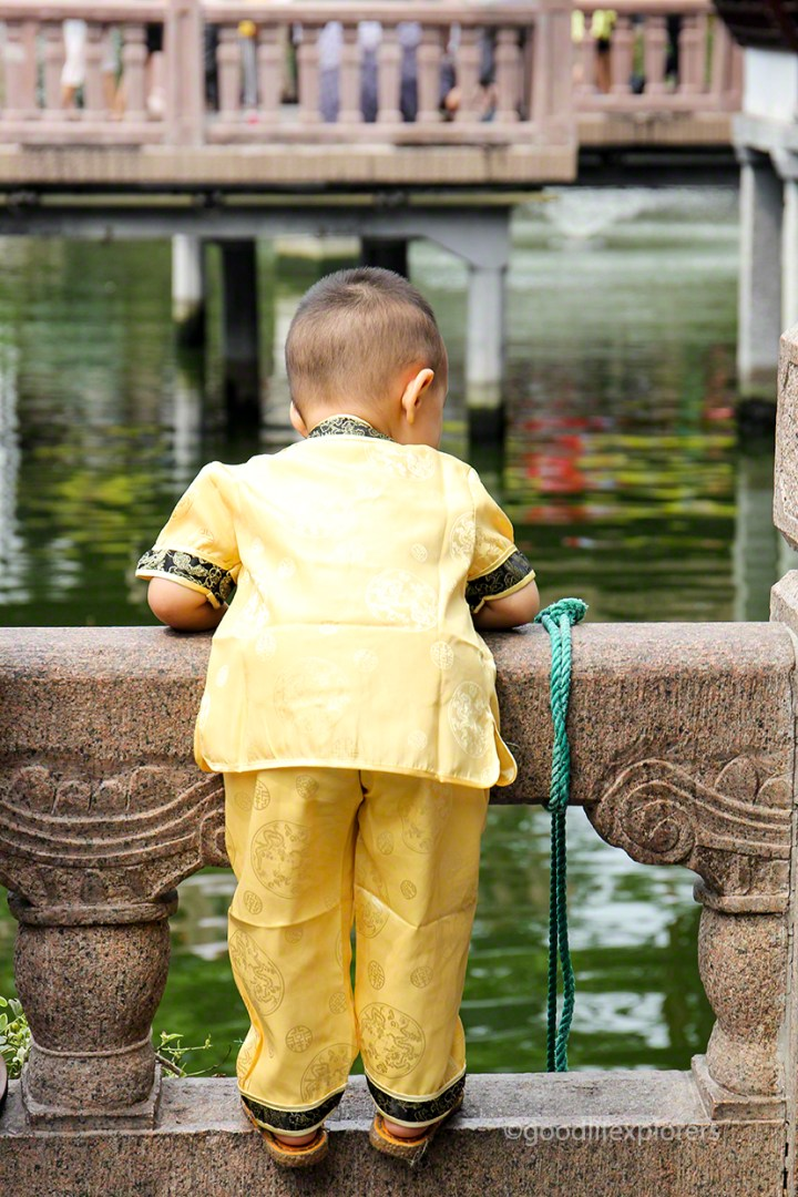 Little boy looking into the water at Yu Garden