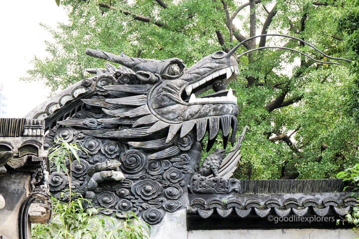 Yu Garden dragon head detail on wall