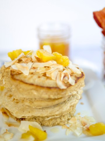 Pineapple Coconut Pancakes, dairy- free, non dairy, brunch, breakfast, recipe, pineapple, coconut, pancakes,