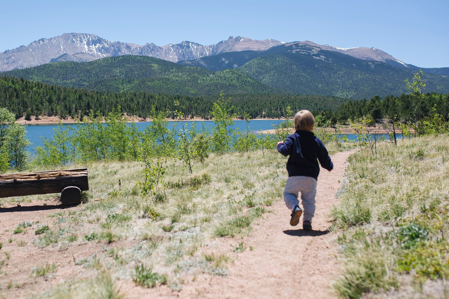 Toddler running in trail in Colorado