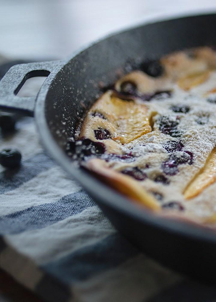cast iron, Peach Blueberry Clafoutis, recipe, easy, dessert, brunch, fruit, summer, french