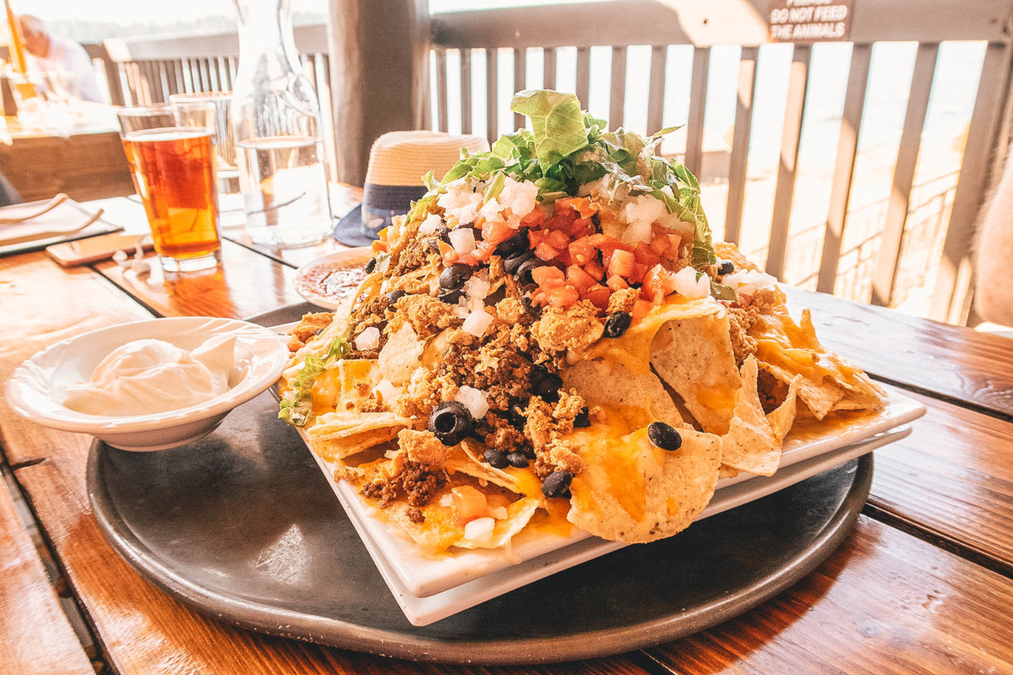 Nachos and beer at Signal Mountain Lodge in Grand Teton national park