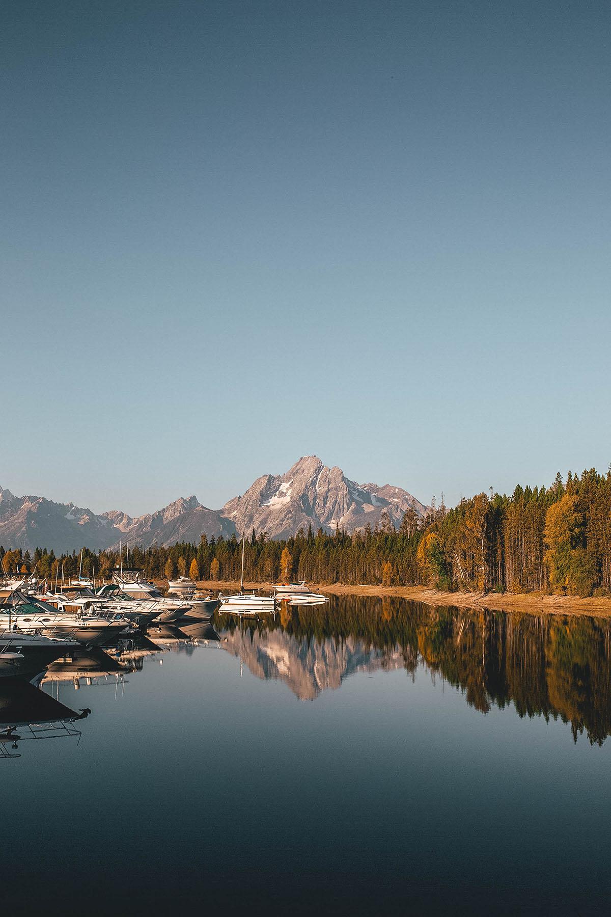Boats in Jackson Lake at Grand Teton National Park