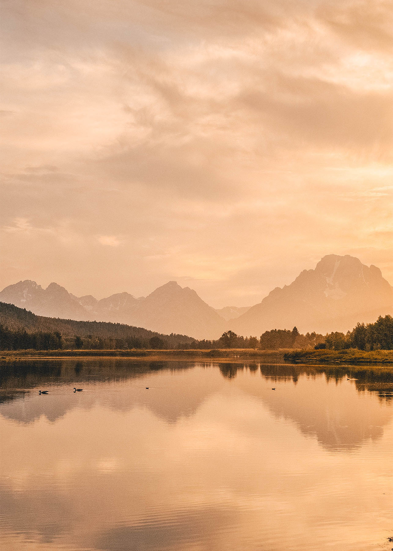 Sunset at Oxbow Bend in Grand Teton National Park