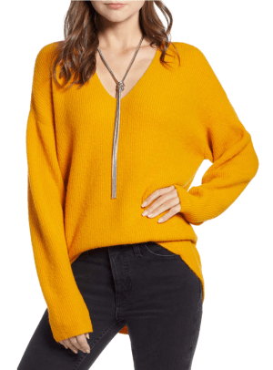 Low Neckline Slouchy Pullover