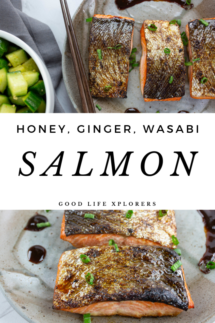 Baked Salmon with Honey Ginger Wasabi Glaze