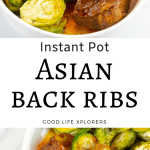 Back ribs cooked with Asian spices and served with roasted Brussels sprouts.