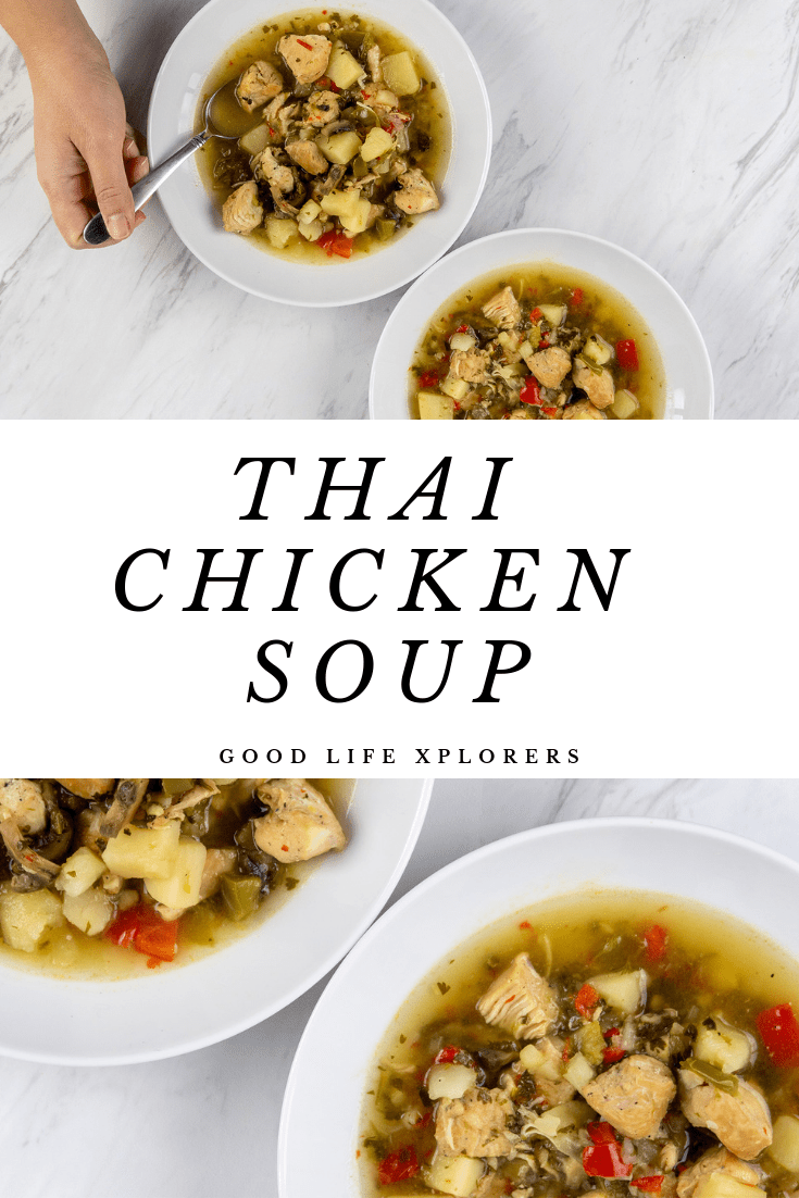 Thai Chicken Soup in white bowls over marble.